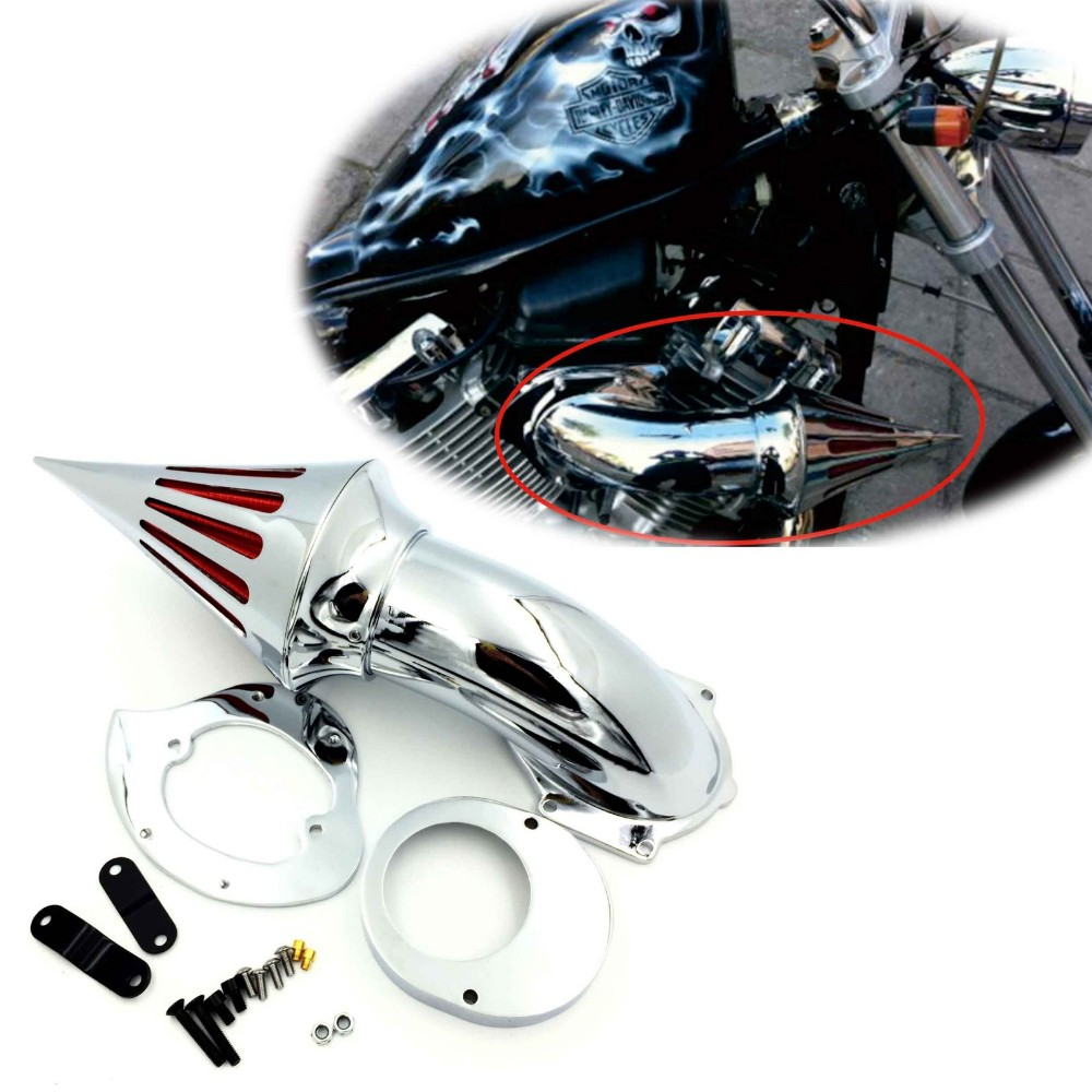 Aftermarket free shipping motorcycle parts Air Cleaner Kits intake filter for Yamaha Vstar V-Star 650 all year 1986-2012 CHROME aftermarket motorcycle parts chrome spike air cleaner for yamaha road star 1600 xv1600a 1700 xv1700 1999 2012
