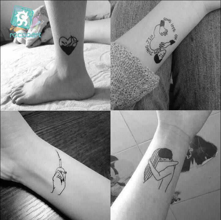 25 hojas 6*6cm diferentes negro pequeñas parejas tatuajes diseño sexo chica chico tatuaje temporal pegatina Arte del cuerpo tatuo falso en las manos.