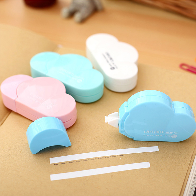 5M length Clouds Shape Correction Tape Kawaii Candy Colors School Accessories For Kids Student Gift Office Stationery Supplies 5mm x 5m deli sweet kawaii cloud shape mini correction tape korean stationery novelty office school supplies kids study tool