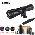 LOMOM T6 Tactical Flashlights Torches Hunting Led Linterna Torch Lighting  Flash Light +18650+Battery Charger+Gun Mount