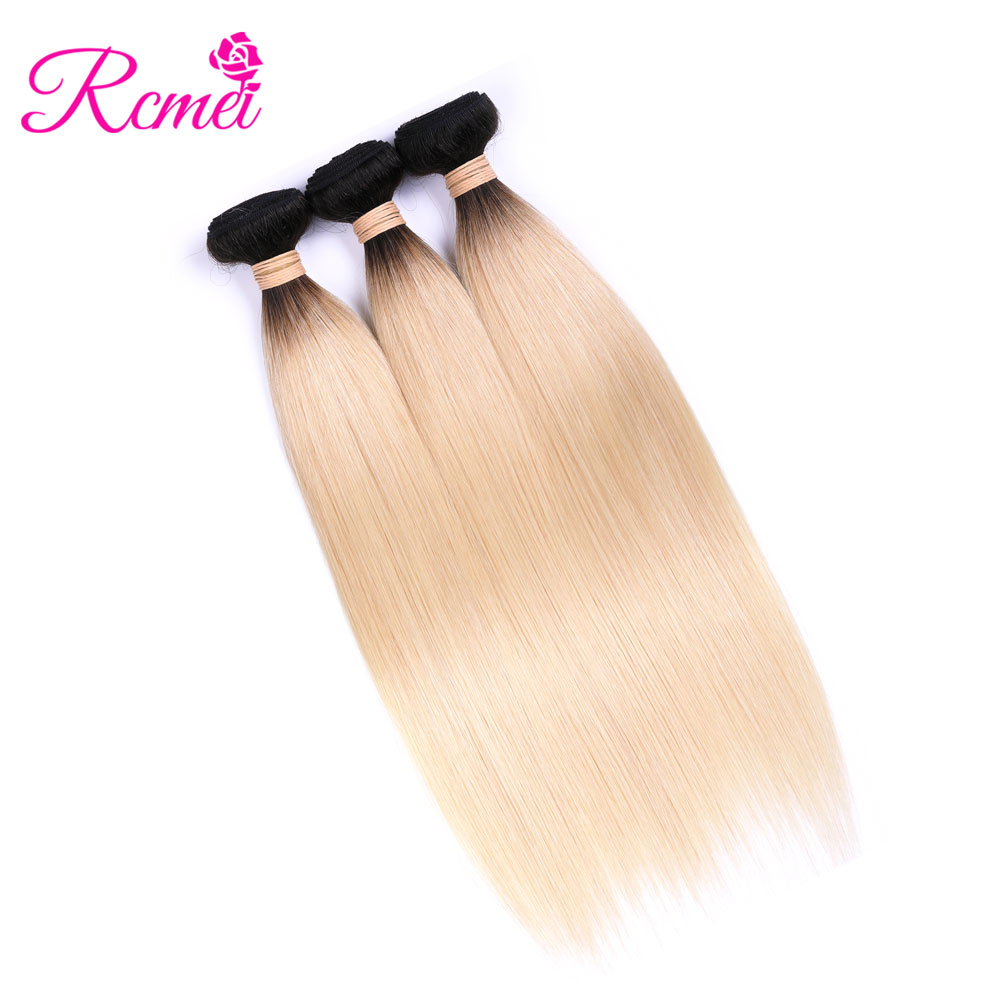 Malaysian Ombre 613 Blonde Wave Bundles 3 Bundles Deal Remy Straight Hair Ombre 613 Hair Weaves 12-26 Inch Hair Extension Rcmei
