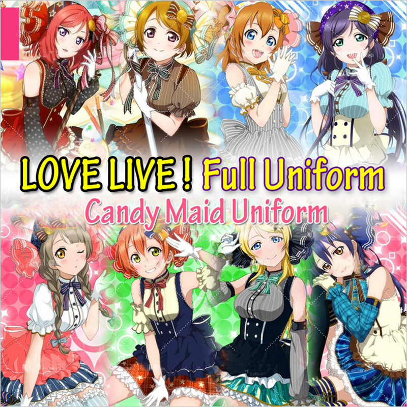 Japanese Anime Love Live Tojo/ Umi/Koroti/ Eli/ Hanayo/Nico/ Rin/Honoka Candy Maid Uniform Princess Lolita Dress Cosplay Costume