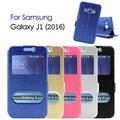 Для Galaxy J 1 (2016) кожаные Чехлы Шелковый Текстуры Двойной Окно Просмотра Кожаный Чехол Подставка для Samsung Galaxy J1 (2016) J120