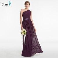 Dressv Purple Long Bridesmaid Dress A Line Sleeveless One Shoulder Beading Pick Ups Simple Custom Wedding Party Bridesmaid Dress