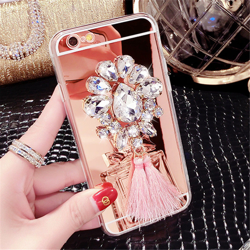 For Samsung S3 S4 S5 S6 S7 edge Plus S8 Note 3 4 5 Luxury Diamond Rhinestone Tassels Mirror Soft TPU case cover Phone case Shell