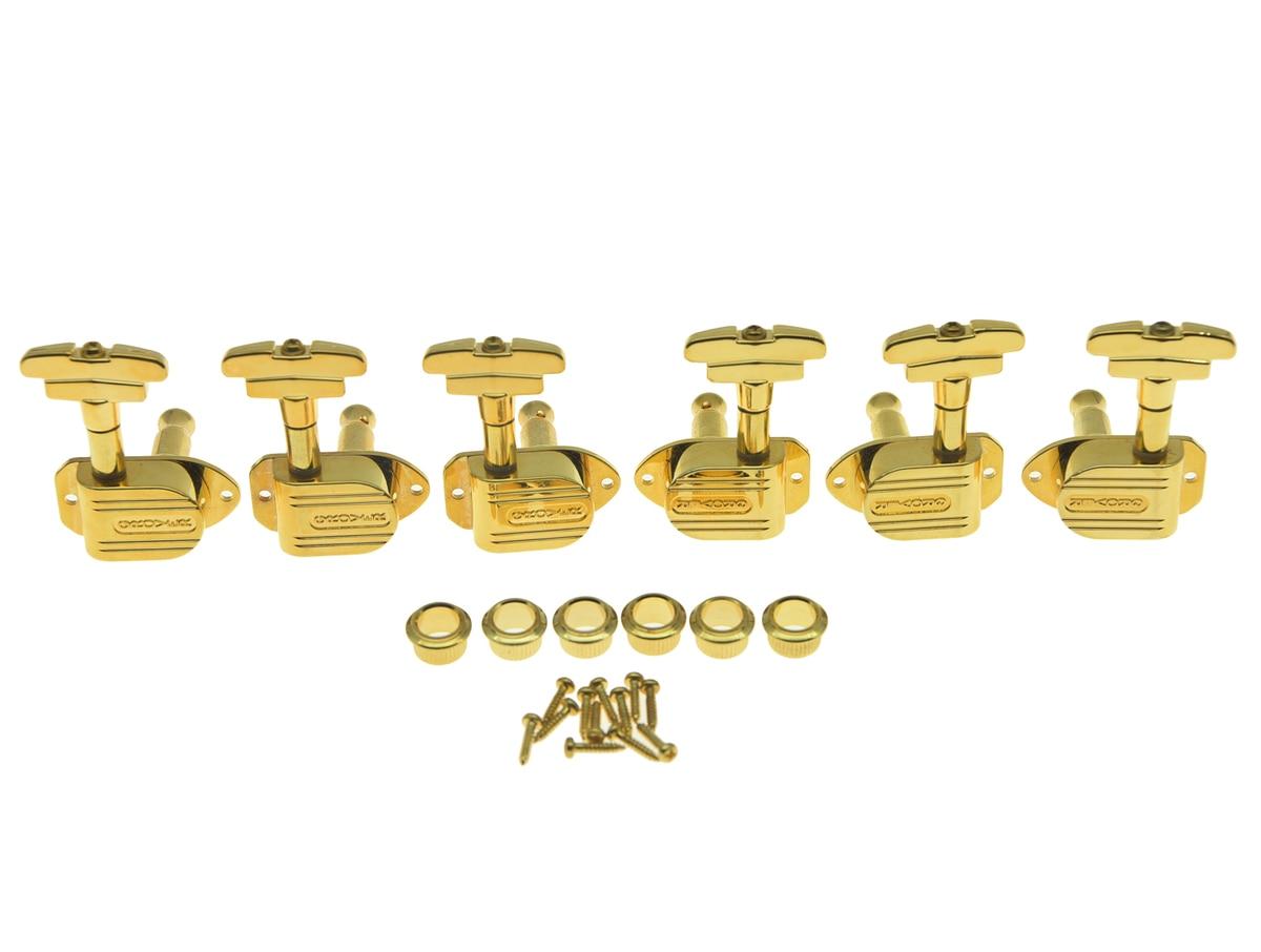 KAISH Grover Imperial 150 Series 150G Guitar Tuners 3+3 Guitar Tuning Keys 16:1 Guitar Machine Heads Gold kaish black 6 inline 2 pin locking tuning keys pegs tuners fits usa strat tele