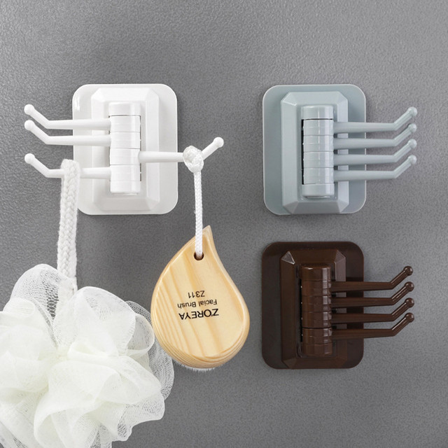 Rotary 4-Hook kitchen bathroom wall rack towel rack without screw and trackless Sticking Hook For Kitchen Bathroom 18MAR12
