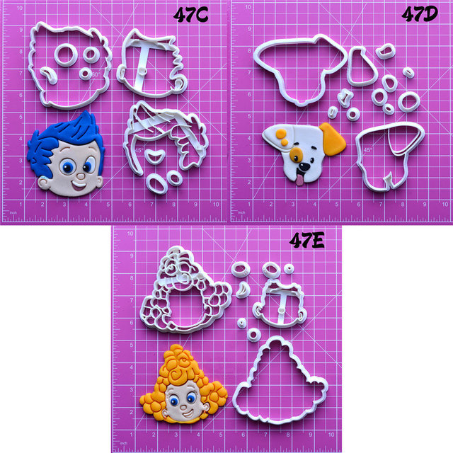 US $5 23 5% OFF Cartoon Tv Bubble Guppies Series Cookie Cutter Custom Made  3D Printed Fondant Cutter Set-in Cookie Tools from Home & Garden on