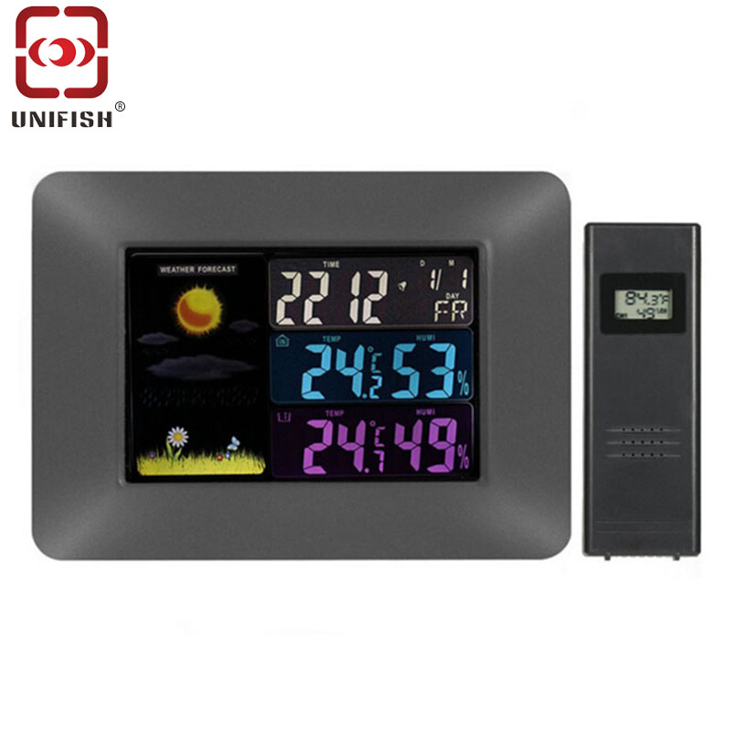 UA97 Digital Color LCD Wireless Weather Forecast Clock Thermometer Hygrometer Barometer Alert Calendar Moon Phase Display use pp ua тв онлайн