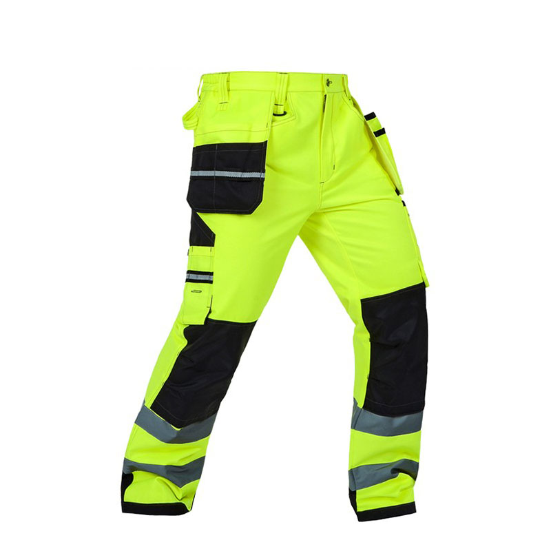 Reflective Men Working Pants High visibility Fluorescent Yellow Multi pockets Work Trousers With Knee Pads Workwear