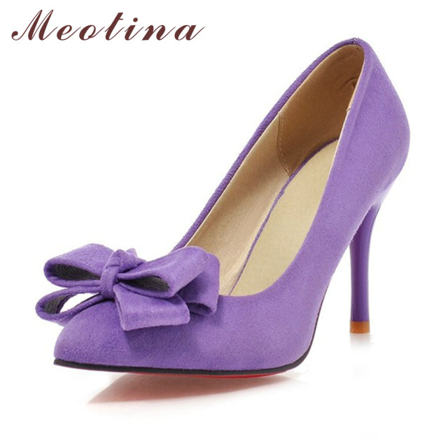 Meotina High Heels Pointed Toe Sieletto Sexy Women High Heels Bow Purple Shoes Ladies Shoes Black Pink Large Size 9 10 43