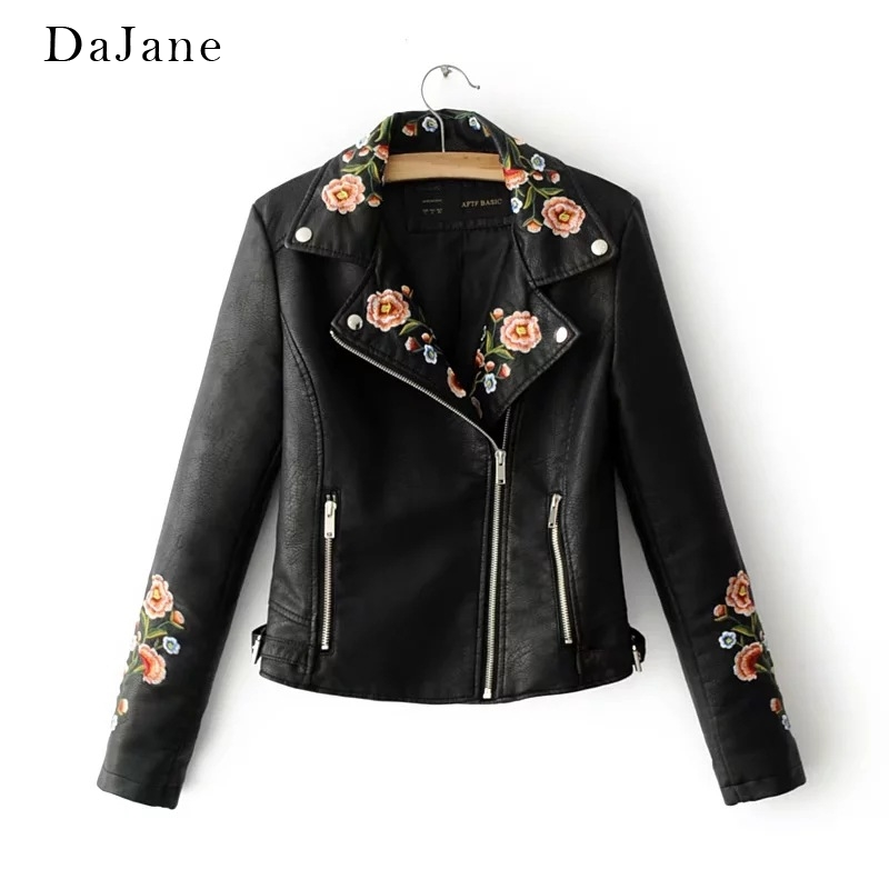 Women's Autumn New PU   Leather   Jacket long-sleeved Shirt Embroidery Zipper Shirt Manufacturers   Leather   Jacket Women