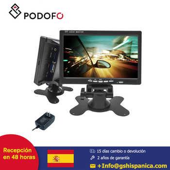 Podofo 7 coche Monitor LCD HD Pantalla de vista trasera Pantalla digital para cámara de copia de seguridad para automóvil