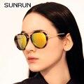 SUNRUN Óculos de Metal Óculos De Sol Das Mulheres Designer de Marca de Moda de Luxo multicolor Revestimento de Espelho Óculos de Sol Oculos de sol 9812