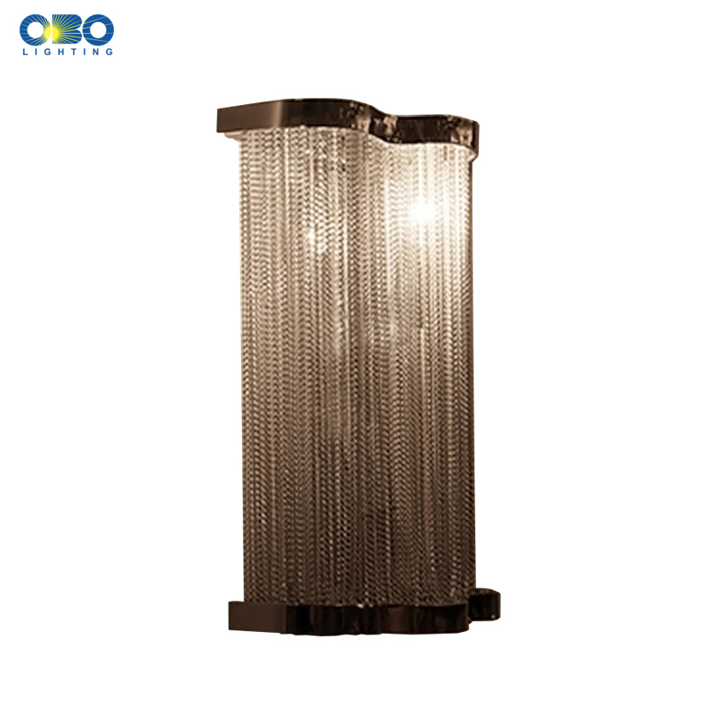Modern Aluminum Chain Plated Wall Lamp Bedroom Foyer Dining Room Indoor Lighting E14 Lamp Holder 110-240V Free Shipping modern lamp trophy wall lamp wall lamp bed lighting bedside wall lamp