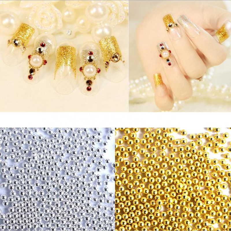 50g/bag 2 Color Steel Beads Studs Gold Silver Nail Art Caviar Beads Manicure Nail Decoration Accessories for Fingernail DR111 ethnic style v neck fringed printed shift dress