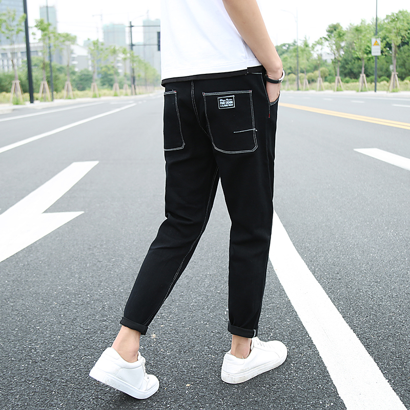 2018 New Summer Mens Jeans Black Slim Casual Simple Fashion Wild Pencil Pants Personality College Wind Street Trend