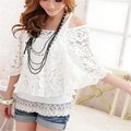 Women Lace Crochet Batwing Half Sleeve Floral Casual Summer Tee Blusas Sexy Hollow Out Shirt 2pcs Set Blouse+Sleeveless Tops