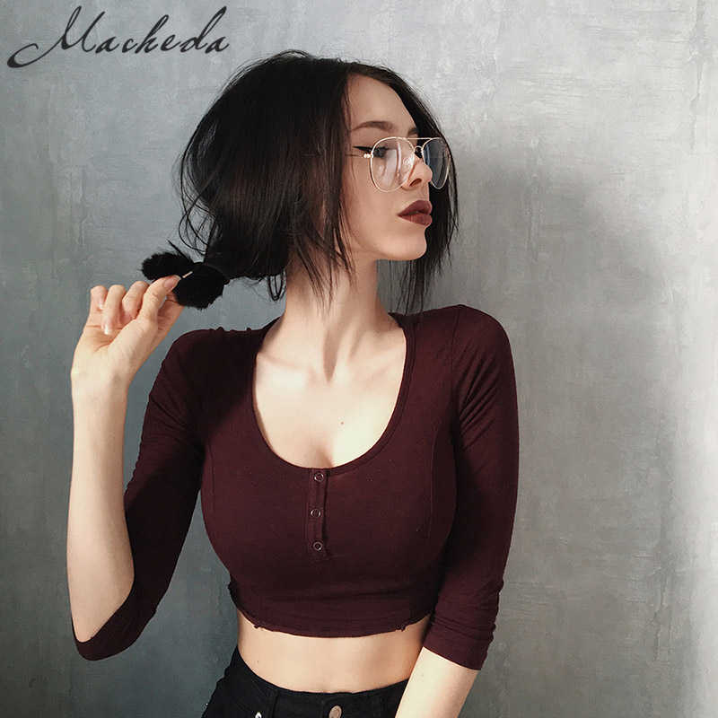 Macheda Women Sexy Knitted Long Sleeve Slim Fit Casual Top T-shirt Tight Red Wine T Shirt 2018 Fashion O-neck Female Shirts