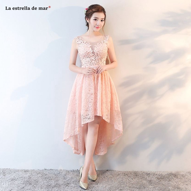 Vestido madrinha 2019 new lace diamonds back open peach High Low bridesmaid  dresses Tea Length gaun pesta dewasa Custom 50567a1abd4f