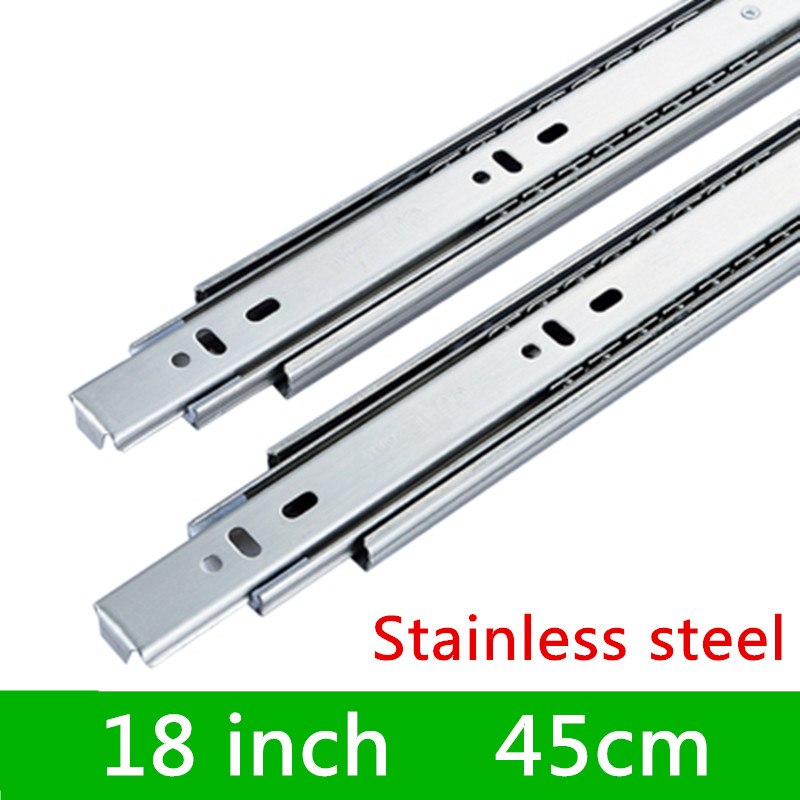 2 pairs 18 inches 45cm Three Sections Guide Rail accessories Stainless Steel Furniture Slide Drawer Track Slide for Hardware widening thicker stainless steel roller guide drawer slide rail track three track rail 2 mounted slide
