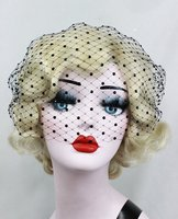 Black birdcage veil blusher length wedding veil caystal bridal veil wedding accessory