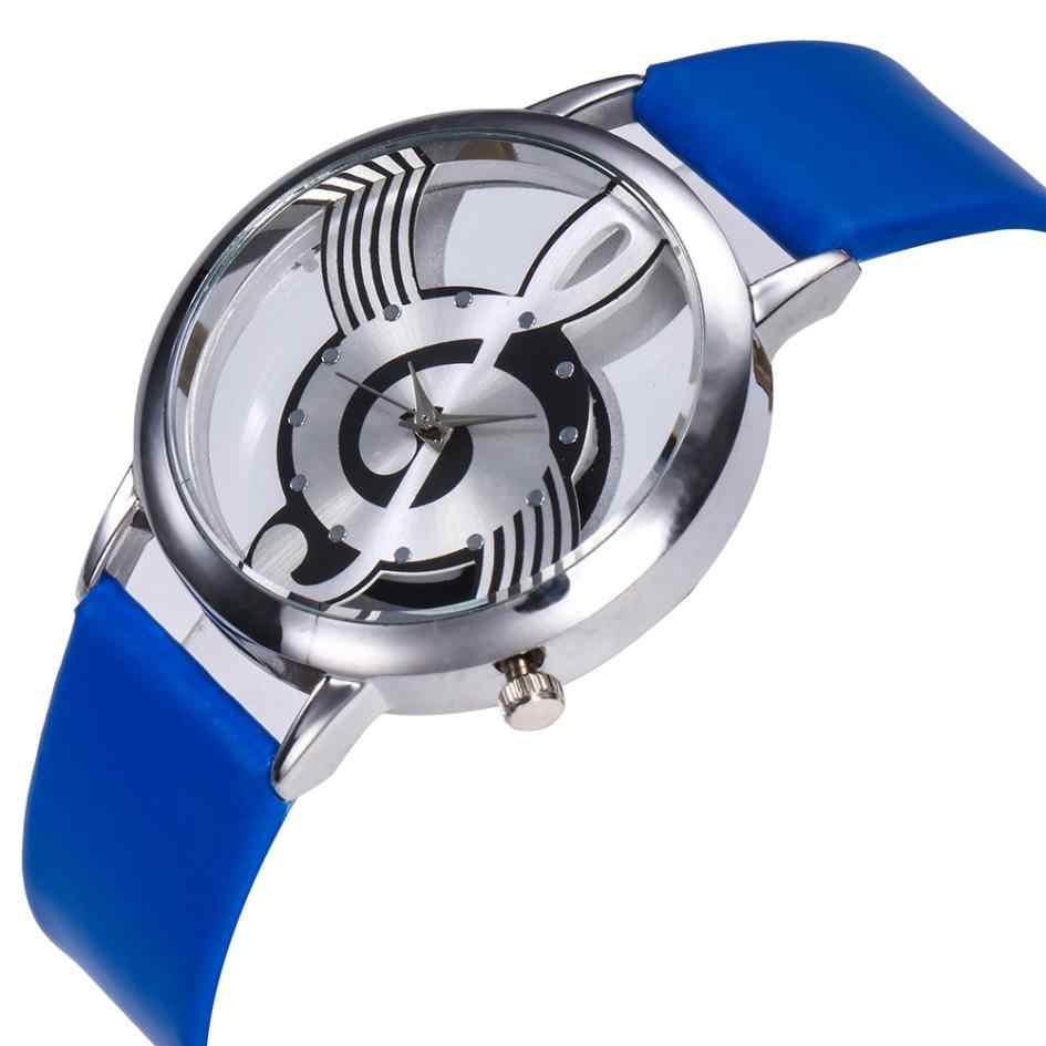 2018 أفضل بيع النساء الساعات أزياء والجلود الفولاذ المقاوم للصدأ الموسيقية رمز ساعة اليد ساعة relogio feminino reloj موهير سات