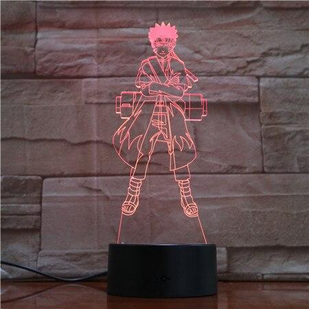 7 farben Ändern 3D Led Visuelle Naruto Modellierung Anime Abbildung Nacht Licht Kind Touch-Taste Usb Tisch Lampe Wohnkultur beleuchtung Geschenk