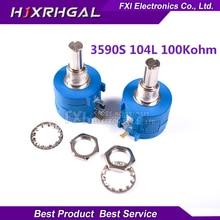 1PCS 3590S-2-104L 3590S 100K ohm 3590S-2-104 3590S-104 Precision Multiturn Potentiometer 10 Ring Adjustable Resistor
