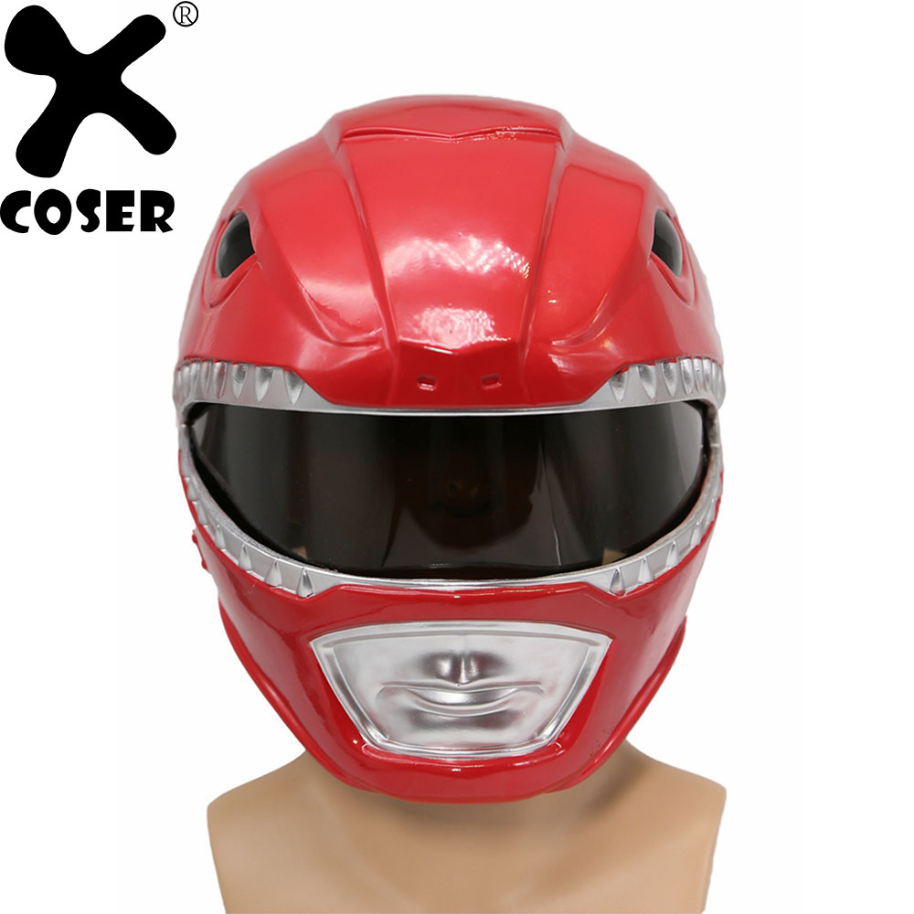 XCOSER Movie Power Rangers Red Rangers Cosplay Helmet Costume Props Classic Red Full Head Helmet Cosplay Accessories For Men cosplay red