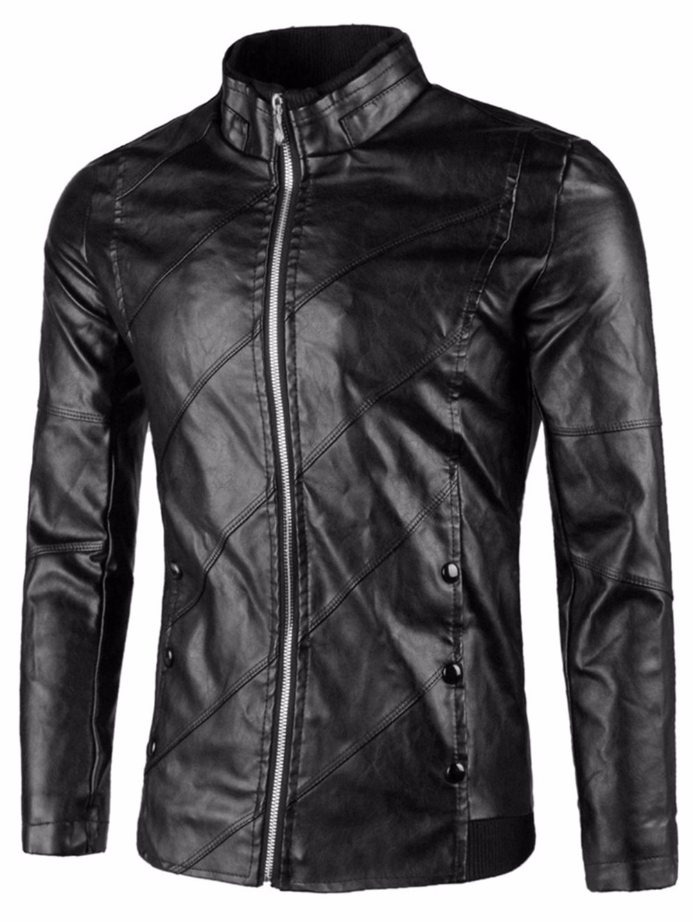 2018Flap Button Embellished Faux Leather Mens Jacket Stand ...