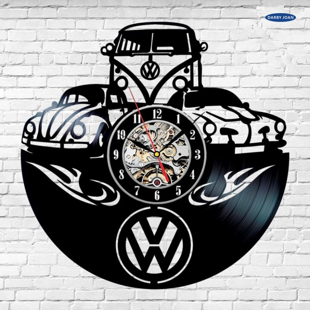 Volkswagen car unique vinyl record wall clock fan gift home decor room art in USA duvar saati