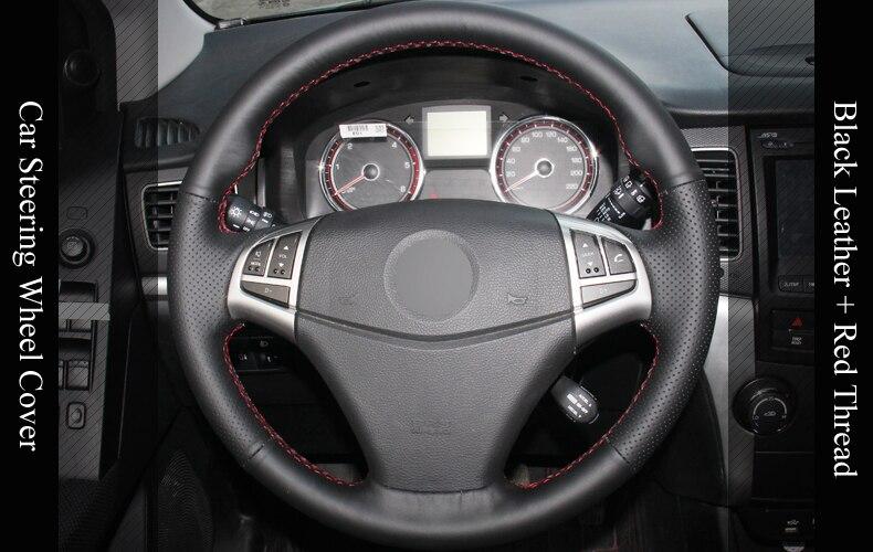 LQTENLEO черная искусственная кожа DIY ручной сшитый чехол рулевого колеса автомобиля Для Ssangyong Korando 2010