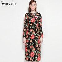 SVORYXIUออกแบบวินเทจชุดผู้หญิงที่มีคุณภาพสูงแขนยาวที่น่าตื่นตาตื่นใจดอกไม้ดอกไม้พิมพ์A Ppliquesชุ...
