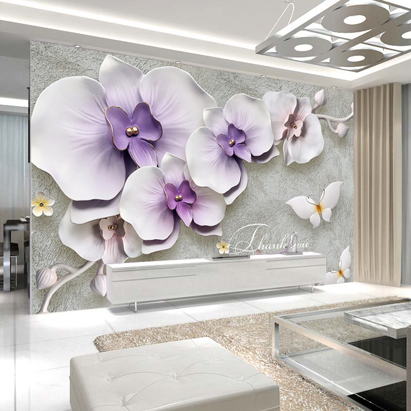 benutzerdefinierte 3d fototapete phalaenopsis blume stereoskopische 3d relief wandmalereien. Black Bedroom Furniture Sets. Home Design Ideas