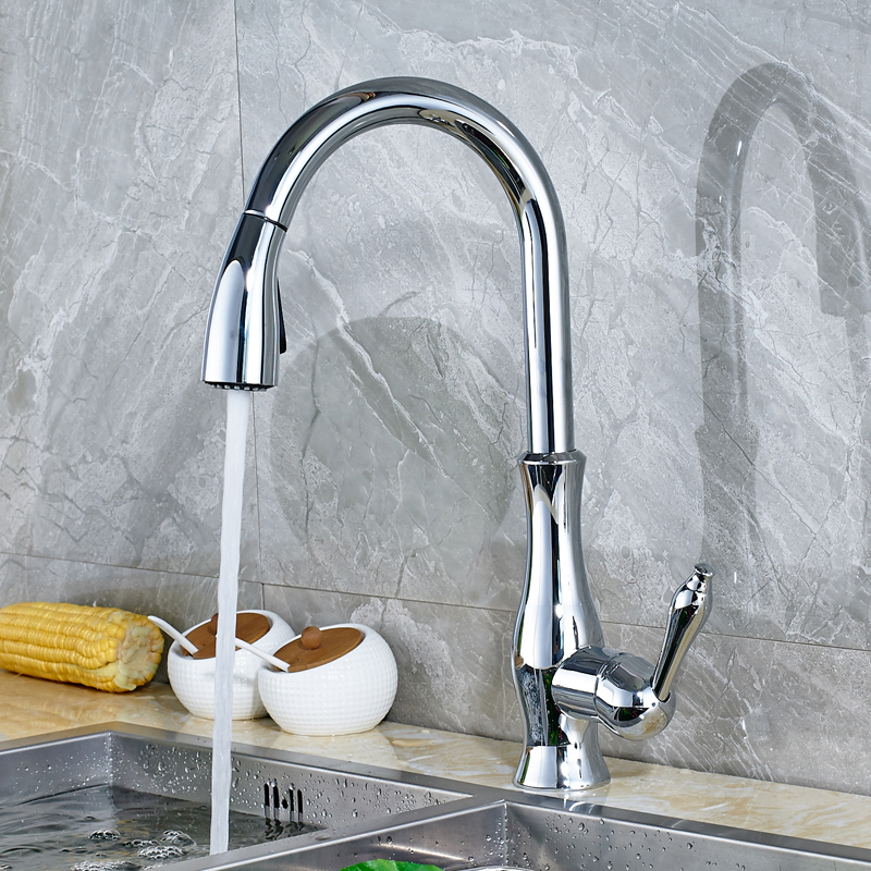 Luxury Chrome Polished Countertop Kitchen Sink Faucet Pull Out Swivel Spout Mixer Tap good quality wholesale and retail chrome finished pull out spring kitchen faucet swivel spout vessel sink mixer tap lk 9907