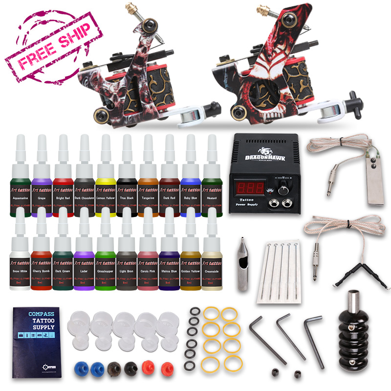 Complete Beginer Tattoo Kit 2 Machine Guns 20 color inks Power Supply Set fashion tattoo art complete tattoo kit 2 machine guns prfessional tattoo set equipment power supply 7 color inks mc kit a2002