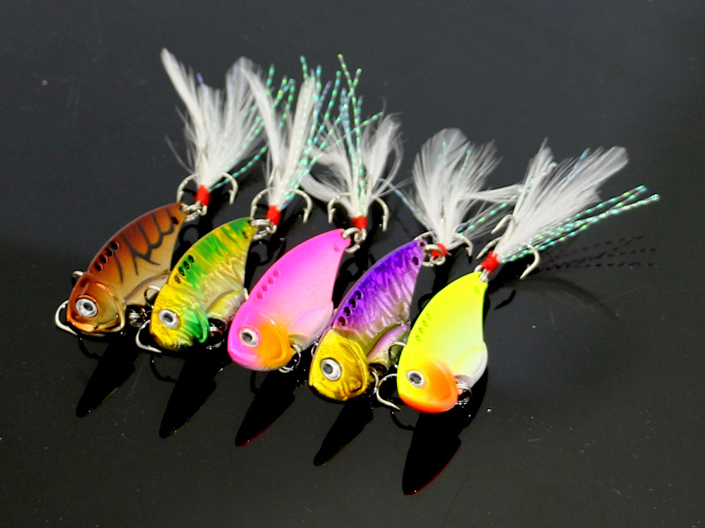 <font><b>New</b></font> Arrival 100pcs <font><b>Vibration</b></font> <font><b>Metal</b></font> <font><b>VIB</b></font> Fishing Lures 5.5CM 11G <font><b>Colorful</b></font> Fishing Tackle Blade Sinking Lures