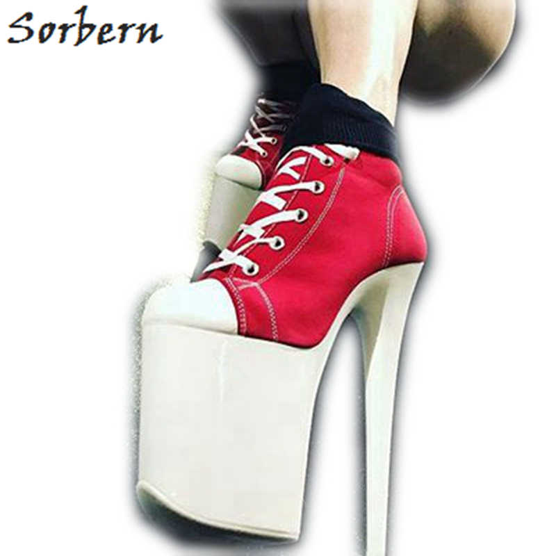 Sorbern Canvas Ankle Boots Pole Dance Heels Exotic Pole Dancer Shoes 20Cm Extreme High Heels 8 Inch Boots Fetish Shoes New 2019