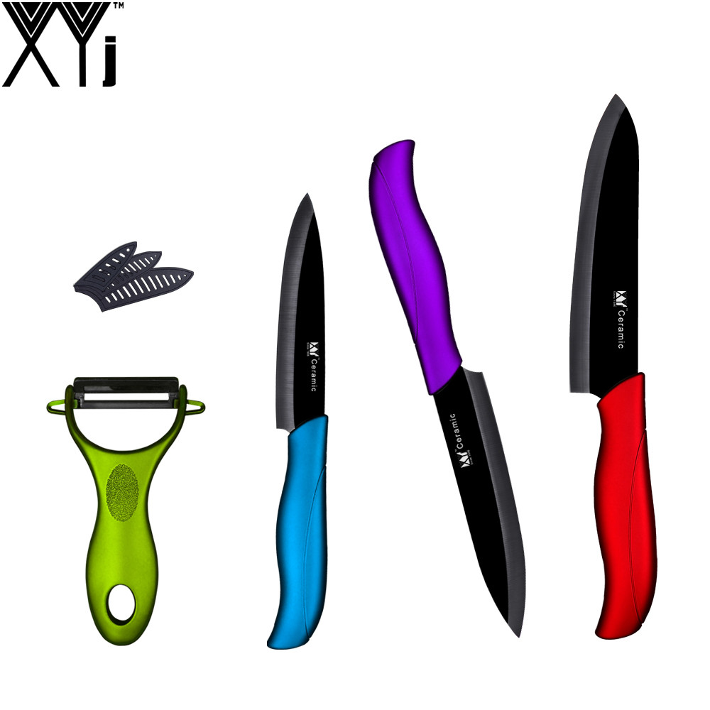 quality kitchen knives brands 3 pieces ceramic knives one green handle peeler chinese xyj brand high quality kitchen knife set 204