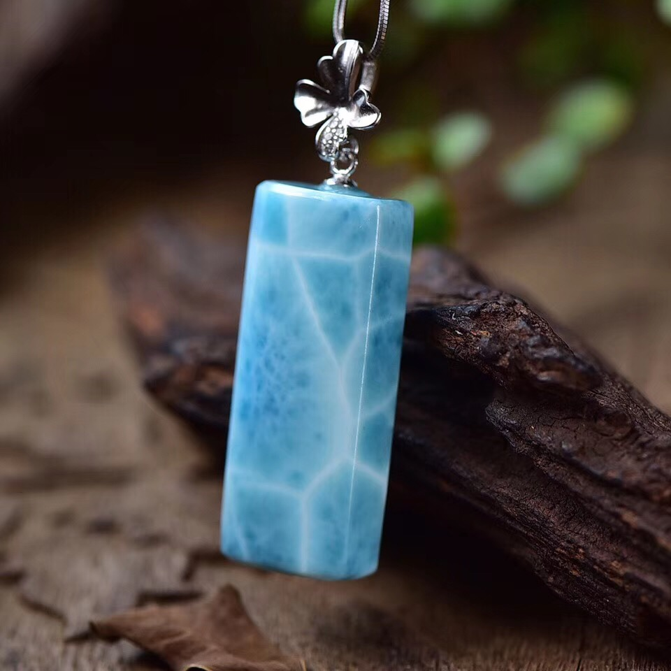 Natural Larimar Pendant 32.5x13.3x8mm Blue Clear Gemstone 925 Silver Sterling Women Men Rectangle Lucky Love Gift Pendant AAAAANatural Larimar Pendant 32.5x13.3x8mm Blue Clear Gemstone 925 Silver Sterling Women Men Rectangle Lucky Love Gift Pendant AAAAA