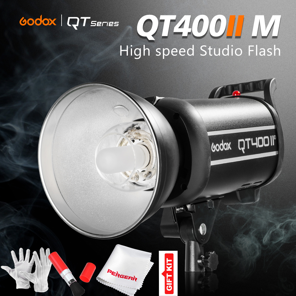 Godox QT400II 400WS GN65 High Speed Sync Flash Light 1/8000s Built-in 2.4G Godox Wireless X System Recycle Time in 0.05-0.7s godox qt 600iim qt600iim 600ws gn76 110v 1 8000s high speed sync flash strobe light with built in godox 2 4g wirless x system