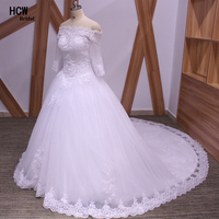 HCWBridal White Tull Lace Arabic Wedding Dress Backless Long Sleeve Bridal Gowns Beaded Appliques Long Train