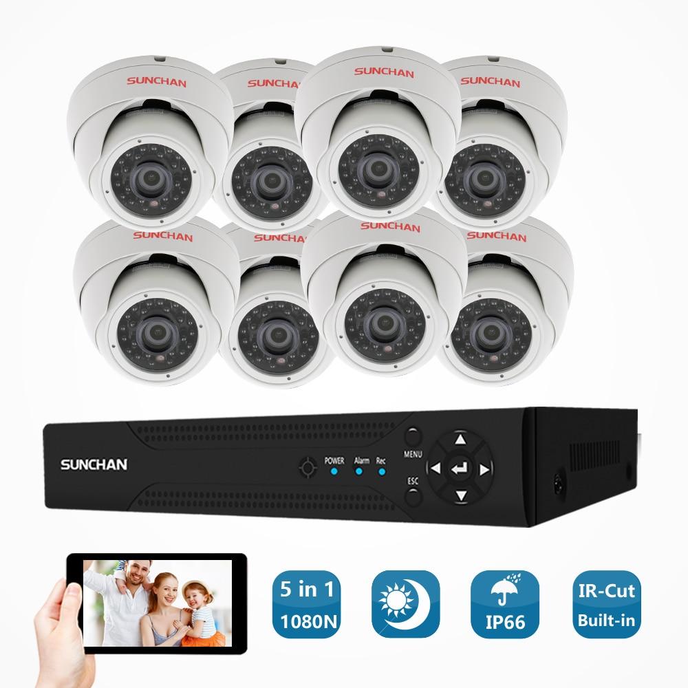 SUNCHAN 16 Canal 8*1.3 mp AHD 1080N Vidéo de Sécurité DVR Caméra de Surveillance Kit 960 p Intérieure IR Dôme caméras Système