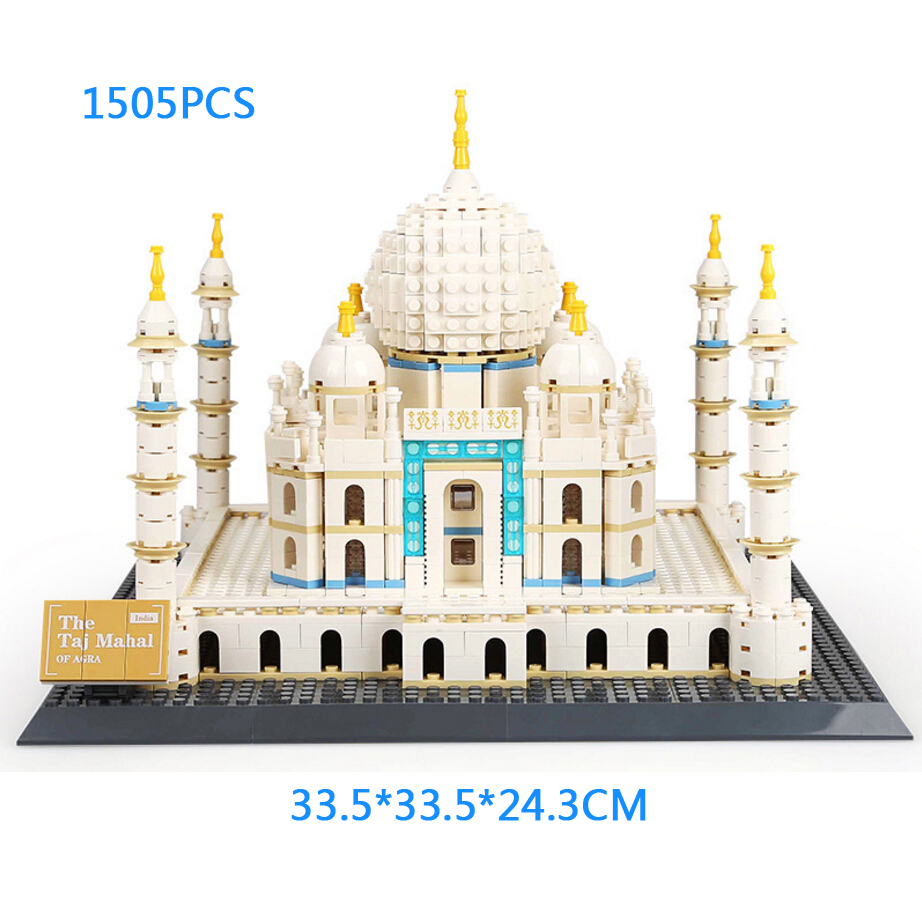 World historical and cultural architecture India Agra Taj Mahal moc building block model bricks educational toys for gifts pastoralism and agriculture pennar basin india