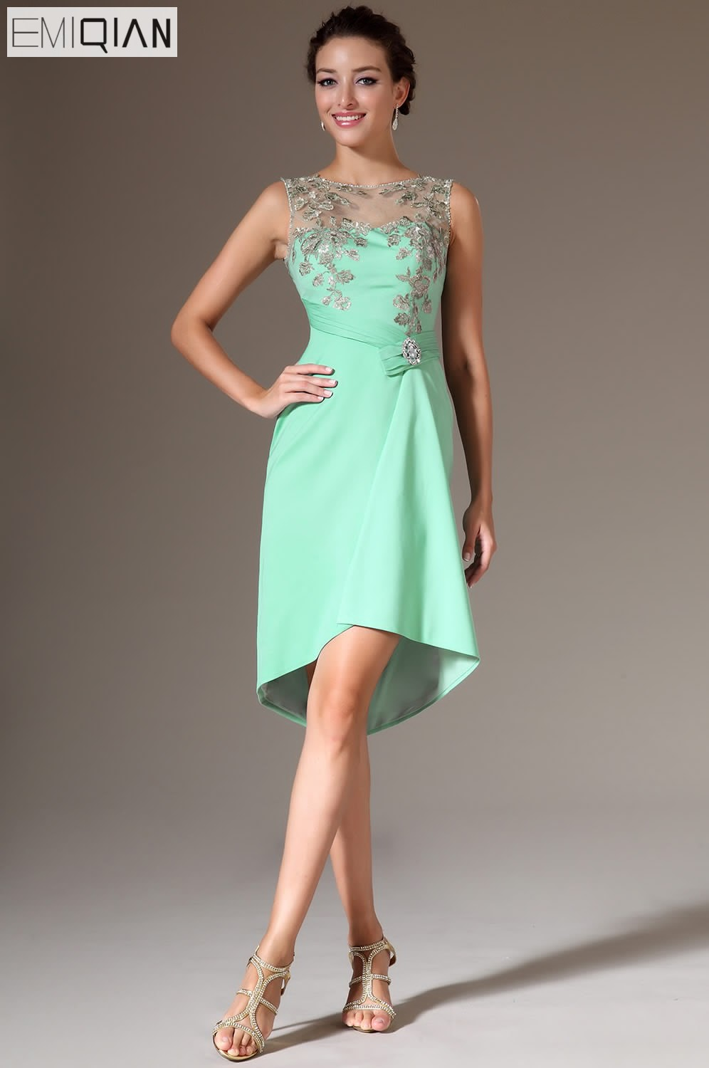 Freeshipping New Sheer High-Low Cocktail Party Dresses