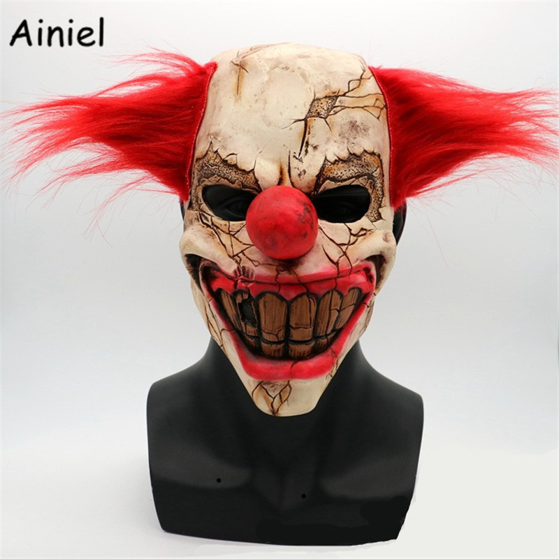 The Joker Terror Mask Cosplay Costume Halloween Clown Terror Terrified Scary hair Latex Mask Carnival Cosplay Costume Men Women