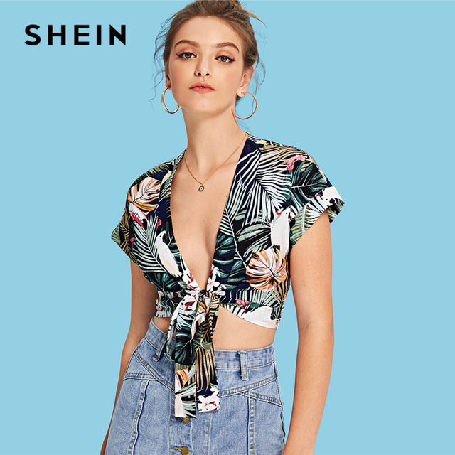 c1eca11d00 SHEIN Multicolor Vacation Bohemian Beach Floral And Tropical Print Knot  Front Crop Blouse Summer Women Weekend Casual Shirt Top