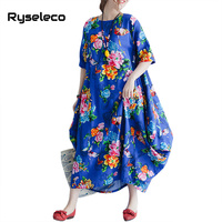 Spring Summer Vintage Flower Print Women Loose Casual Dress Chinese Large Swing Oversize Cotton Linen Plus