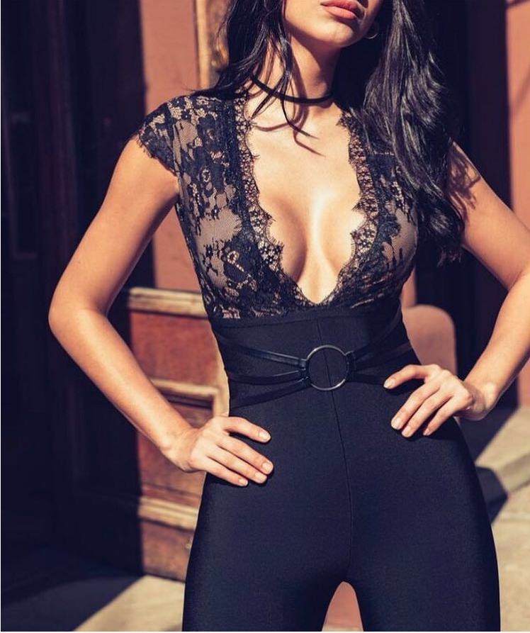 Shining Beauty 2018 High Quality New Black Lace Deep V-Neck Slim Fit Bandsuit